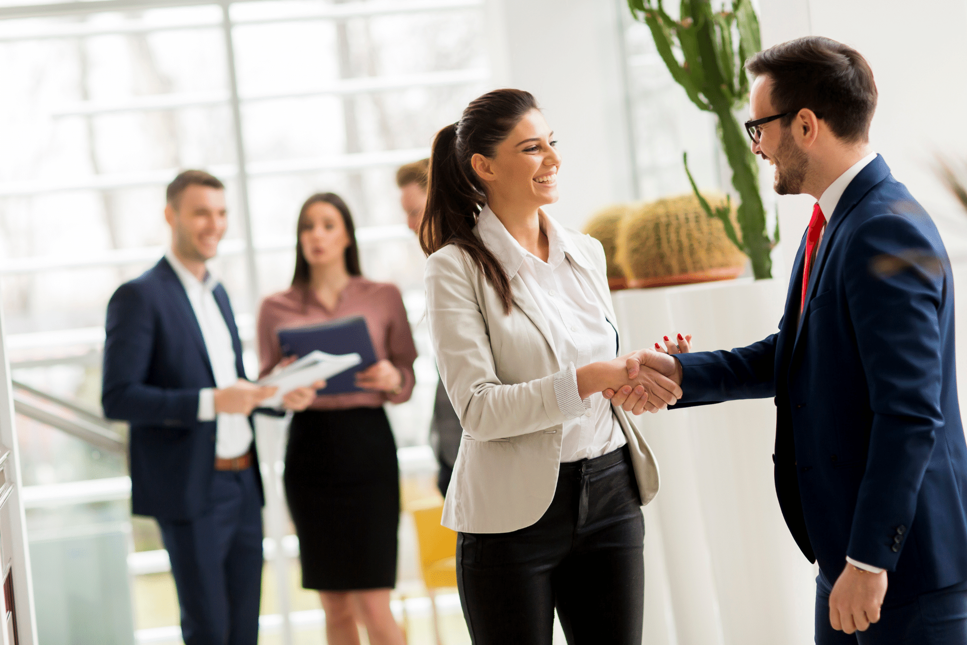 Referral partners shaking hands